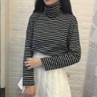 Striped Turtleneck Knit Pullover