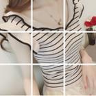 Frill Trim Striped Sleeveless Knit Top
