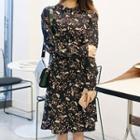 Long-sleeve Patterned Midi Chiffon Dress