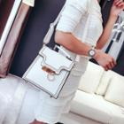 Hoop Accent Stitched Top Handle Crossbody Bag