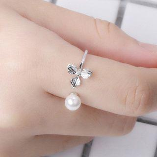 Flower Open Ring White Gold - One Size