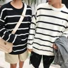 Couple Matching Embroidered Striped Sweater