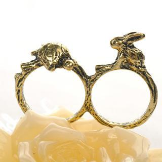 Double-ring Tortoise And Rabbit Ring  Copper - One Size