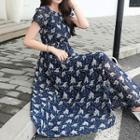 Short-sleeve Floral Print Midi Chiffon Dress