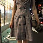 Set: Elbow-sleeve Knit Top + Buttoned Plaid Pinafore Dress