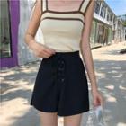 Set: Contrast Trim Knit Tank Top + Plain Lace Up Shorts