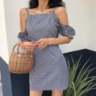 Gingham Cold-shoulder A-line Dress Gingham - One Size