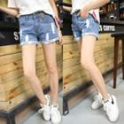 Distressed Rolled Denim Shorts