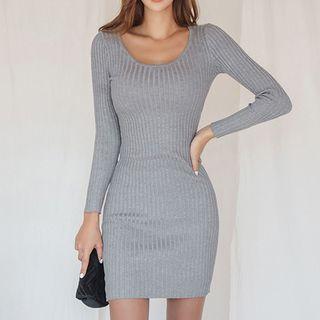 Scoop Neck Knit Long-sleeve Mini Sheath Dress Gray - One Size