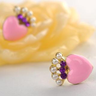 Heart-shaped Earrings  Pink - One Size