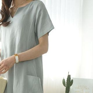 Linen V-neck A-line Long Dress