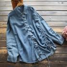 Drawstring Denim Shirt Denim Blue - One Size