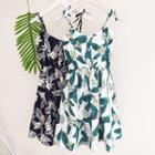 Tie-shoulder Printed Sleeveless Dress