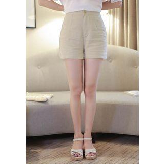 Zip-front Linen Shorts