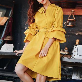 Ruffle Trim 3/4-sleeve Collared Dress