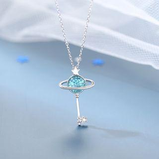 925 Sterling Silver Planet Key Rhinestone Necklace As Shown In Figure - One Size