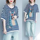 Elbow-sleeve Striped Cat Print T-shirt