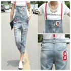 Distressed Capri Dungaree