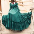 Long-sleeve Ruffled Hem Maxi Dress