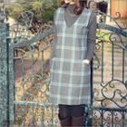 Wool Blend Sleeveless Check Dress