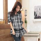 Belted Long Plaid Blouse