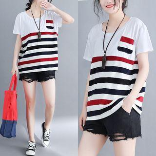 Short-sleeve Striped T-shirt Stripe - Red & Black - One Size
