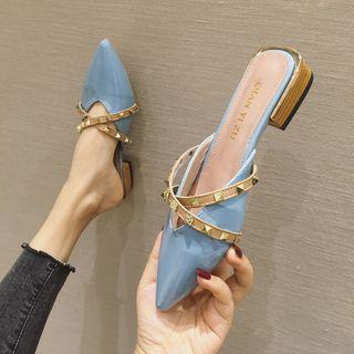 Studded Strap Pointy-toe Flat Mules