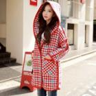 Houndstooth Hooded Button Coat