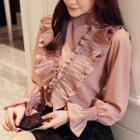 Frilled Trim Mock Neck Chiffon Blouse