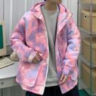 Tie-dyed Hooded Zip-up Jacket
