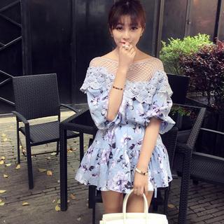 Lace Panel Floral A-line Dress