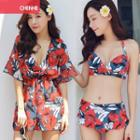 Set: Patterned Bikini + Beach Cover