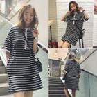 Stripe Short-sleeve Collared Dress