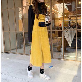 Embroidered Jumper Skirt / Plain Long-sleeve Top