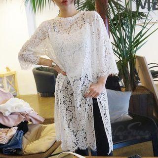 Lace 3/4-sleeve Dress White - One Size