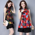 Mandarin-collar Printed Sleeveless Top