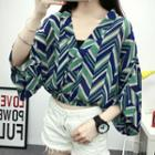 V-neck 3/4-sleeve Chiffon Top Wave - One Size