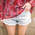 Lace-hem Distressed Denim Shorts