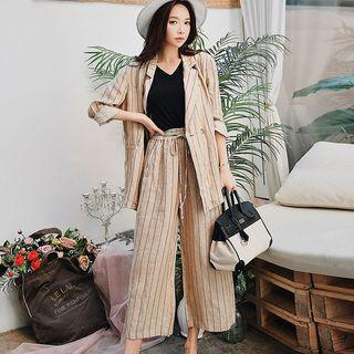 Set: Striped Blazer + Crop Wide Leg Pants