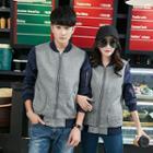 Couple Matching Color Panel Zip Jacket