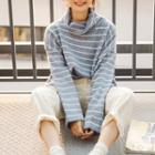 Striped Cowl-neck Sweater