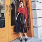 Two-tone Accordion Pleat Midi Velvet Skirt