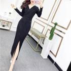 Long-sleeve Lapel Maxi Sheath Dress
