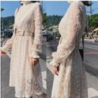 Long-sleeve A-line Lace Dress With Belt
