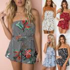 Strapless Floral Print Playsuit