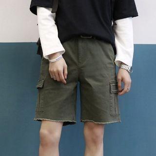 Frayed Trim Cargo Shorts
