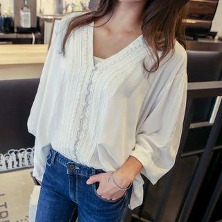 Lace-front Shirred Blouse