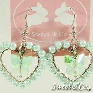 Sweet Lover Green Heart Butterfly Earrings