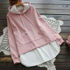 Mock Two-piece Long-sleeved Pocketed Hoodie