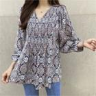 Smocked-panel Patterned Top